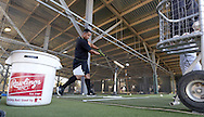 GLENDALE, ARIZONA - FEBRUARY 24:  Jose Abreu #79 of the Chicago White Sox swings in the batting cages during spring training workouts on February 24, 2015 at Camelback Ranch in Glendale Arizona.  (Photo by Ron Vesely)    Subject:  Jose Abreu