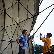 A yurt goes up to make room for various work shops.  Reclaim the Power camp is set up in a field near Balcombe. The site is squatted but so far nor the owner nor police has made any moves to stop the camp from setting up. It is organised by the environmental group No Dash for Gas and the movement is protesting against the company Cuadrilla's fracking testing near Balcombe and have come to Balcombe to lend its support to the local protests against the drilling for gas.
