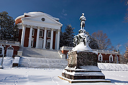 Snow covered statue of Thomas Jefferson in front of the Rotunda at the University of Virginia, Charlottesville, Virginia