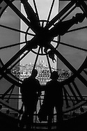 Paris view trough the big clock of Orsay museum  Paris  France
