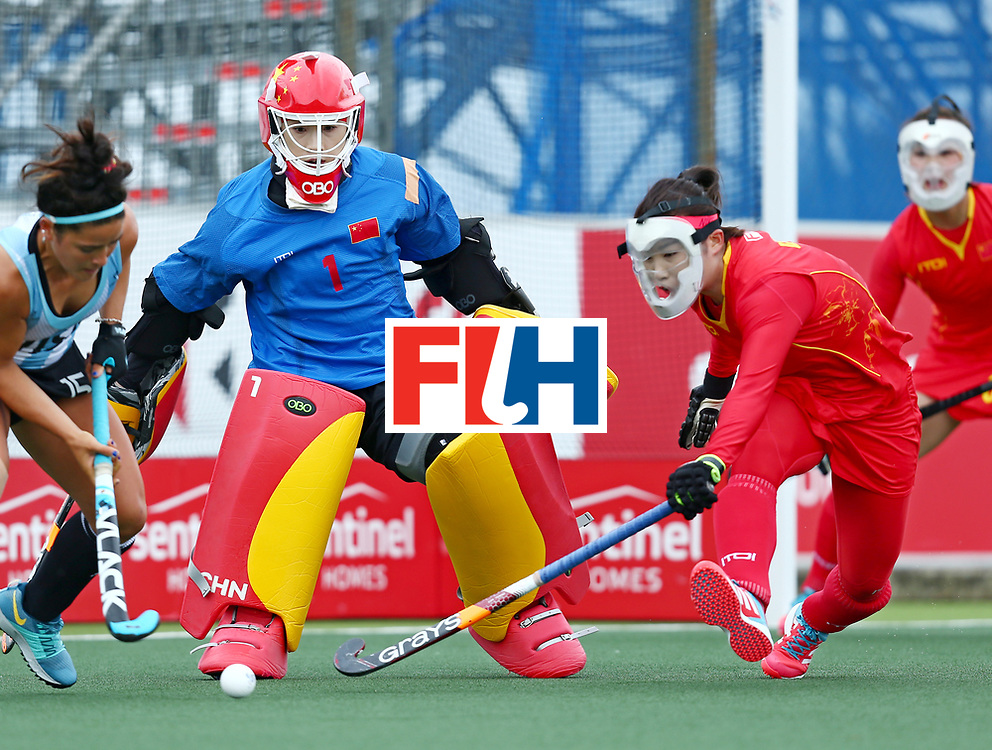 New Zealand, Auckland - 18/11/17  <br /> Sentinel Homes Women&rsquo;s Hockey World League Final<br /> Harbour Hockey Stadium<br /> Copyrigth: Worldsportpics, Rodrigo Jaramillo<br /> Match ID: 10294 - ARG vs CHN<br /> Photo: (1) LI Dongxiao&nbsp;(GK) (C) and (5) LI Jiaqi against (15) GRANATTO Maria Eugenia