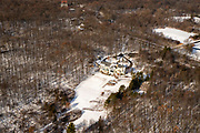 Aerial view of Inn at Wawanissee Point, rural Sauk County, Wisconsin in the winter on an overcast day.