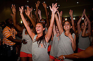 SANFORD, FL -  AUGUST 5  Band camp students at Seminole High School react to Justin Bieber in Sanford, Florida, on August 5, 2010. Bieber was on hand as part of a Best Buy and Grammy Foundation donation to the music program at Seminole High School.(Photo by Matt Stroshane/Getty Images)