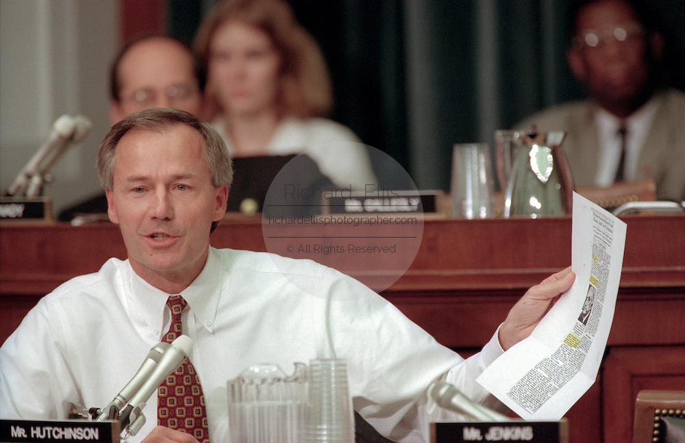 Rep. Asa Hutchinson of the House Judiciary Committee during hearings on whether impeachment proceedings should begin against President Bill Clinton October 5, 1998 in Washington, DC. This is only the third time in US history that impeachment proceedings against a President have been brought to the House committee.