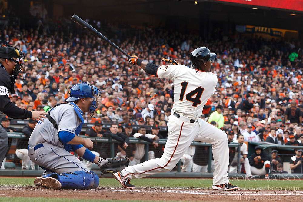 SAN FRANCISCO, CA - MAY 05: Francisco Peguero #14 of the San Francisco Giants at bat against the Los Angeles Dodgers during the third inning at AT&T Park on May 5, 2013 in San Francisco, California. The San Francisco Giants defeated the Los Angeles Dodgers 4-3. (Photo by Jason O. Watson/Getty Images) *** Local Caption *** Francisco Peguero