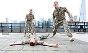 5 Soldiers: The Body is the Frontline <br /> at the Tower of London, Great Britain <br /> 7th September 2017 <br /> Rosie Kay Dance Company <br /> <br /> Duncan Anderson <br /> Luke Bradshaw<br /> Reece Causton <br /> Harriet Ellis <br /> <br /> perform an extract from the work at the Tower of London - The show will be at military drill hall Yeomanry House, Bloomsbury until 9th September 2017. <br /> <br /> <br /> <br /> Photograph by Elliott Franks <br /> Image licensed to Elliott Franks Photography Services