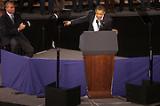 "Boston- President Barack Obama gestures toward Governor Deval Patrick during a campaign rally for Patrick's re-election at the John B. Hynes Veterans Memorial Convention Center on Saturday Oct. 16, 2010. Obama said, ""In two weeks you can say, 'yes we can."" The election takes place on Nov. 2. (Photo/Rachel Larue/ COM 2011)"