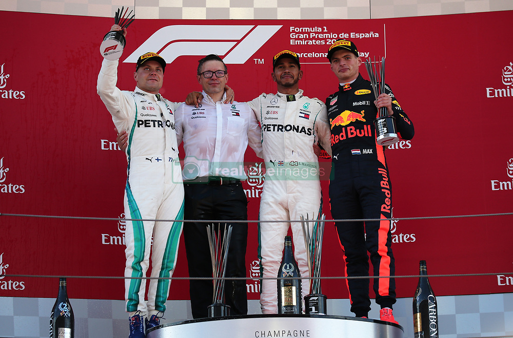 May 13, 2018 - Barcelona, Spain - Lewis Hamilton and Valtteri Bottas, team Mercedes, and Max Verstappen, team Red Bull, in the podium of the GP Spain F1, on 13th May 2018 in Barcelona, Spain. (Credit Image: © Joan Valls/NurPhoto via ZUMA Press)