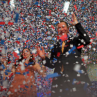 BEREA, OH - March 15, 2016.  John Kasich celebrates his Ohio primary victory at Baldwin Wallace University in Berea, OH, March 15, 2016.  Five states go to the polls today, including the winner take all Ohio, with 143 delegates for the Democrats, and 66 delegates for the Republicans.  CREDIT: Mark Makela for The New York Times
