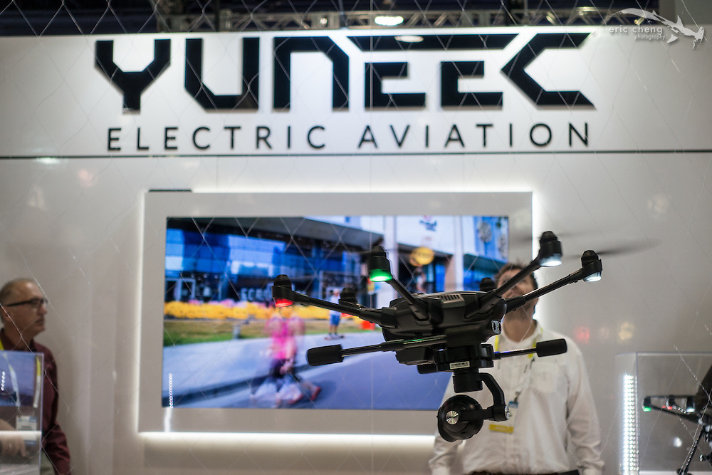 The darling drone of the show this year was the Yuneec Typhoon H, shown flying here in a configutation without Intel RealSense. CES 2016, Las Vegas.