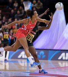 England's Serena Guthrie, left, and South Africa's Bongiwe Msomi compete for the ball in the Netball Quad Series netball match, ILT Stadium Southland, Invercargill, New Zealand, Sept. 3 2017.  Credit:SNPA / Adam Binns ** NO ARCHIVING**
