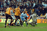 Photo: Kevin Poolman.<br />Wolverhampton Wanderers v Coventry City. Coca Cola Championship. 08/04/2006. Coventry's Stern John nearly gets in a the end.