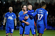 Goalscorer Peterborough Utd midfielder George Cooper (19) celebrates his goal 2-0 with team mates during the EFL Sky Bet League 1 match between Peterborough United and Rochdale at London Road, Peterborough, England on 12 January 2019.