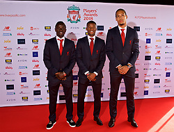 LIVERPOOL, ENGLAND - Thursday, May 10, 2018: Liverpool's Sadio Mane, Georginio Wijnaldum and Virgil van Dijk arrive on the red carpet for the Liverpool FC Players' Awards 2018 at Anfield. (Pic by David Rawcliffe/Propaganda)