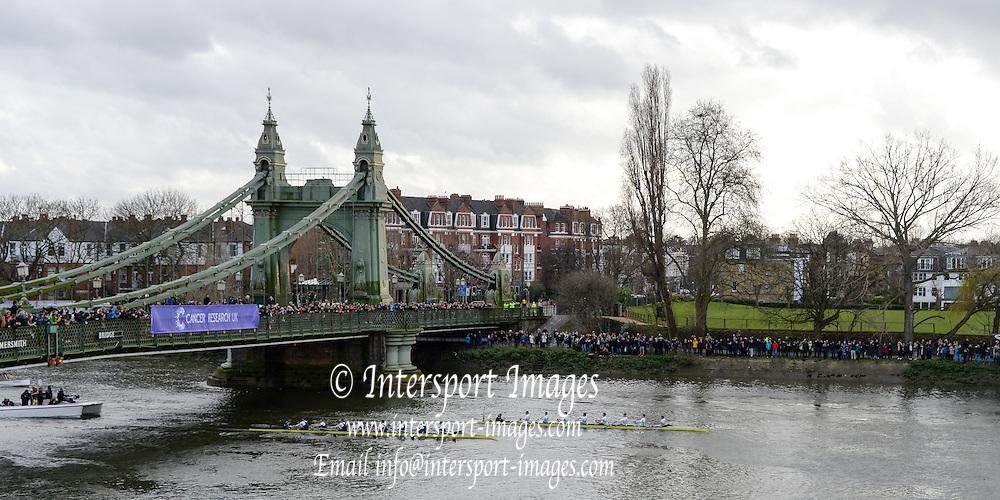 London, Great Britain.<br /> <br /> 2016 Varsity Boat Race. Championship Course Mortlake to Putney. River Thames. Sunday  27/03/2016<br /> <br /> [Mandatory Credit: Intersport images]
