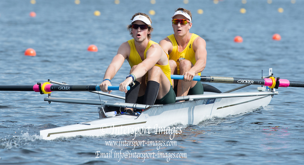 Hamburg. GERMANY. AUS JM2-,  Wed afternoon heats at the 2014FISA Junior World rowing. Championships.  15:06:59  Wednesday  06/08/2014  [Mandatory Credit; Peter Spurrier/Intersport-images]