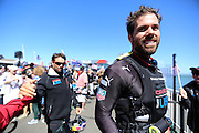 Members of Oracle Team USA prepare to board their boat during the 34th America's Cup in San Francisco, CA. (Charles Hall/challphotos.com)