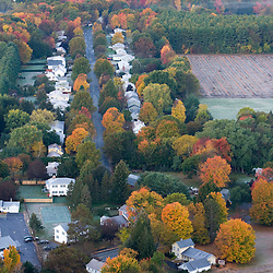 Houses in South Deerfield, Massachusetts as seen from South Sugarloaf Mountain in the Sugarloaf Mountain State Reservation in Deerfield, Massachusetts.