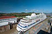 Cruise ships at Miraflores Locks. Panama Canal, Panama City, Panama, Central America..