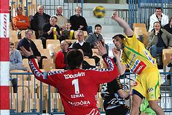 Goalkeeper of Rhein Neckar Lowen Slawomir Szmal  vs Dragan Gajic (5) during the 1st Main round of EHL Champions League match between RK Celje Pivovarna Lasko (SLO) and Rhein Neckar Lowen (GER), on February 14, 2009, in Arena Zlatorog, Celje, Slovenia. Rhein Neckar Lowen won 34:28.  (Photo by Vid Ponikvar / Sportida)