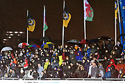 Newport County fans enjoying themselves in the rain during the The FA Cup match between Newport County and Middlesbrough at Rodney Parade, Newport, Wales on 5 February 2019.
