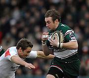Leicester, GREAT BRITAIN,  Left, Jonny WILKINSON moves in to tackle Tigers Johne MURPHY, during the Guinness Premiership game, Leicester Tigers vs Newcastle Falcons at Welford Road. 26.01.2008 [Mandatory Credit Peter Spurrier/Intersport Images]