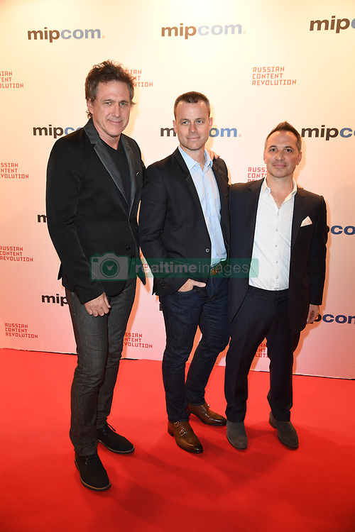 Louis Morrisette, Louis Drolet, Alain Chicoine Arriving for the opening ceremony of the MIPCOM in Cannes - Marche international des contenus audiovisuels du 16-19 Octobre 2017, Palais des Festivals, Cannes, France.<br />