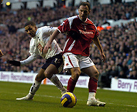 Photo: Olly Greenwood.<br />Tottenham Hotspur v Charlton Athletic. The Barclays Premiership. 09/12/2006. Tottenham's Aaron Lennon and Charlton's Radostin Kishishev