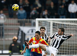 ITALY, Lecce : Bonucci J.during the Serie A match between Lecce and Juventus at Stadio Via del Mare in Lecce on February 20, 2011. .AFP PHOTO / GIOVANNI MARINO