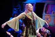 "A student cast member sings ""The Age of Aquarius -- a classic song that predates her age by more than a decade -- during the University Theatre's production of the musical ""Hair"" at the University of Wisconsin-Madison on April 11, 2009."