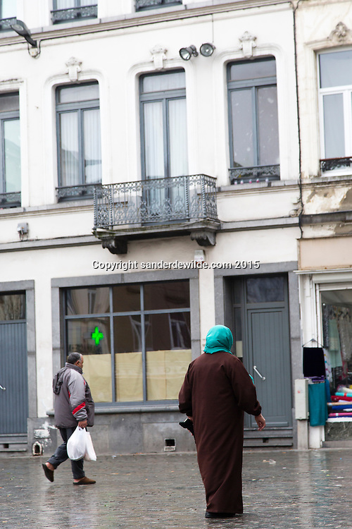 Brussels Belgium Molenbeek 20 November 2015.Place Communcale 30 where the brother of Aslem was interviewed and where the mother of the still living terrorist lives, on the first floor.