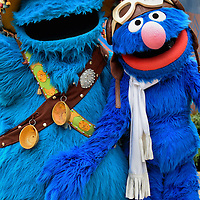 Cookie Monster and Grover Posing at Busch Gardens in Tampa, Florida <br />
