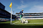 The Groundsman paints the lines on to the pitch in the Loftus Versfeld Stadium in Tshwane / Pretoria, South Africa. Venue for the FIFA Confederations Cup South Africa 2009 and the 2010 FIFA World Cup in South Africa. The stadium was named after Robert Owen Loftus Versfeld, the founder of organized sports in Pretoria.