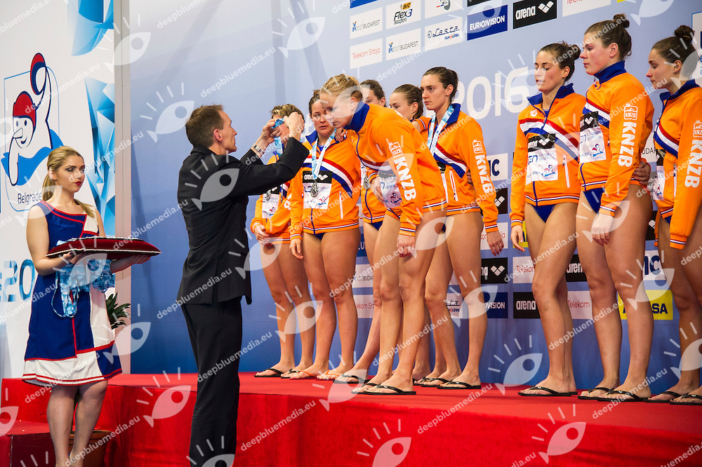 Podio<br /> Team Netherlands Silver Medal<br /> LEN European Water Polo Championships 2016<br /> Kombank Arena, Belgrade, Serbia <br /> Day13  22-01-2016<br /> Photo G. Scala/Insidefoto/Deepbluemedia