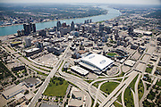 Ford Field and Comerica Park<br />  in Downtown Detroit - View south from  from I 395 and I 75 interchange