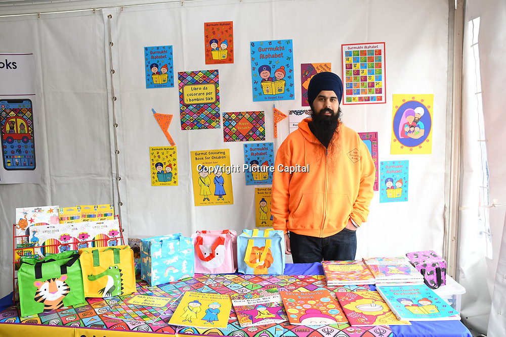 London, England, UK. 27 April 2019. Sikh Colouring Books | Sikh Kids Activities stall at the Vaisakhi Festival is a Sikh New Year in Trafalgar Square, London, UK.