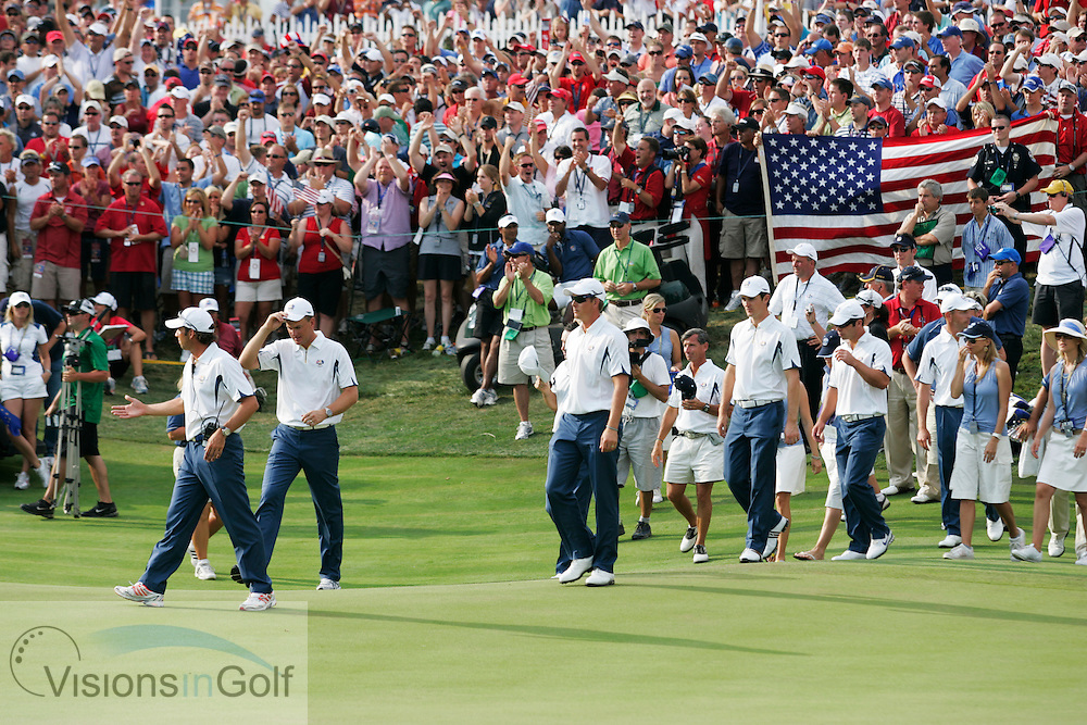 Jim Furyk wins the Ryder Cup for USA team as the European team look down on the 17th  on the last day of the 37th Ryder Cup Matches, 2008, Valhalla GC, Louisville, Kentucky.<br /> Picture Credit: Mark Newcombe / visionsingolf.com