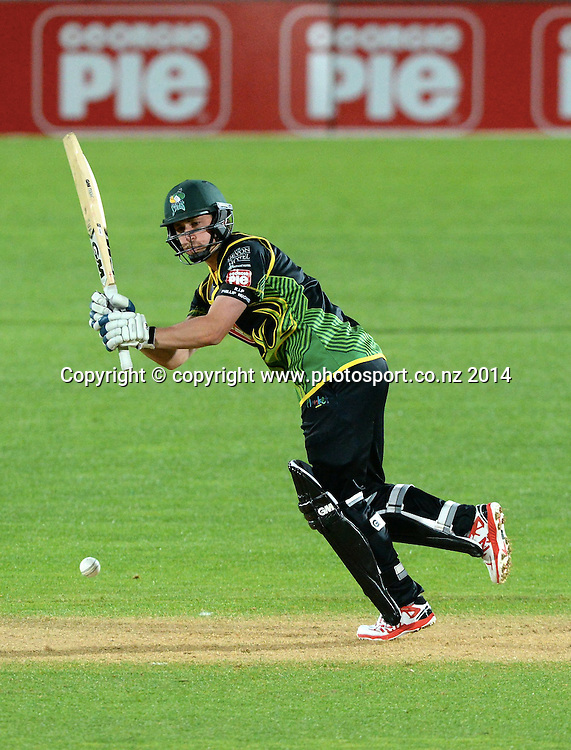 Central District's Will Young plays a shot in the Georgie Pie Super Smash T20 cricket match Stags v Volts, McLean Park, Napier, Friday, November 28, 2014. Photo: Kerry Marshall / photosport.co.nz