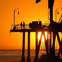 Santa Monica Pier during sunset.