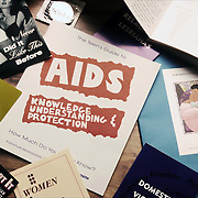 AIDS awareness brochures and safe sex brochures, violence against people with AIDS, condoms