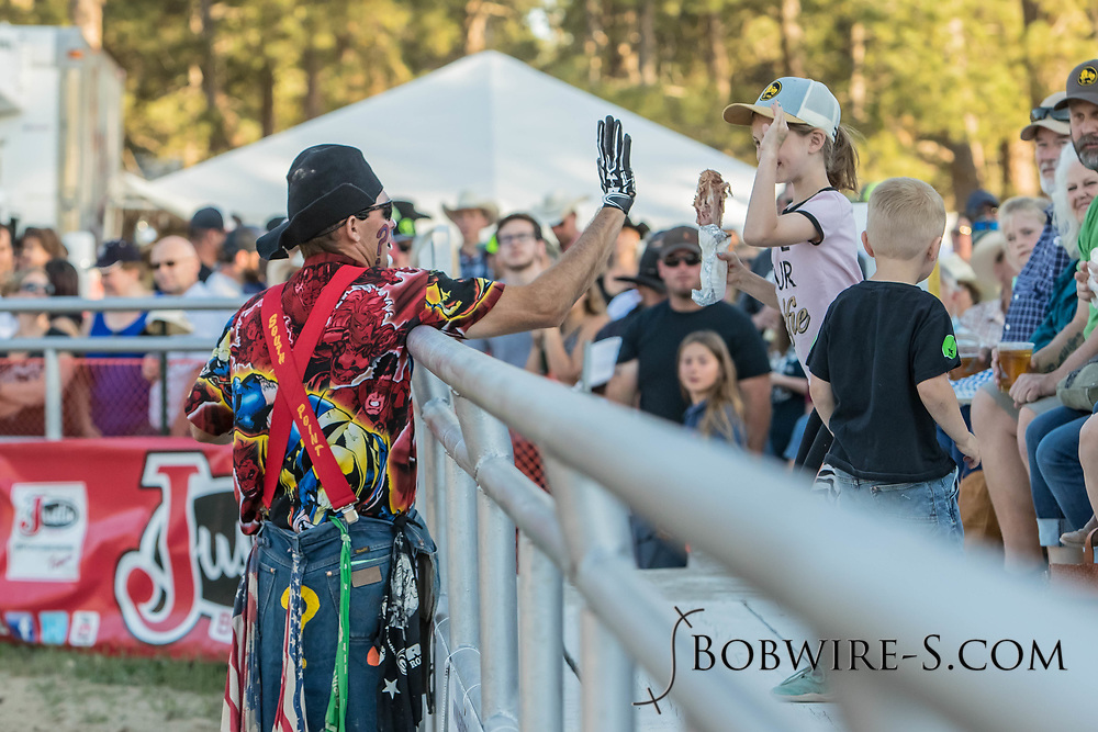 Barrelman JW Winklepleck entertains the crowd during the second performance of the Elizabeth Stampede on Saturday, June 2, 2018.
