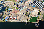 Nederland, Noord-Holland, Amsterdam, 27-09-2015;<br /> Amsterdam-Noord, NDSM-werf. met voormalige scheepshelling. Stadsontwikkeling en broedplaats in de Scheepsbouwloods<br /> Amsterdam-North, former shipyard. Urban development.<br /> luchtfoto (toeslag op standard tarieven);<br /> aerial photo (additional fee required);<br /> copyright foto/photo Siebe Swart