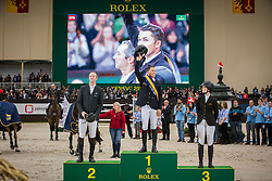 Farrington Kent (USA)  winners of the Défi des Champion presented by Rolex<br /> second Patrice Delaveau (FRA), third Reed Kessler (USA)<br /> CHI Geneve 2013<br /> © Dirk Caremans