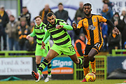 Cambridge United's Medy Elito(21) on the ball during the EFL Sky Bet League 2 match between Forest Green Rovers and Cambridge United at the New Lawn, Forest Green, United Kingdom on 20 January 2018. Photo by Shane Healey.