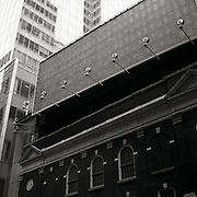 """Blank Billboard hovers over the exterior of the Henry Miller Theatre just off Broadway in the theater district in New York City.  Taken from the series """"Down with the Ship"""""""