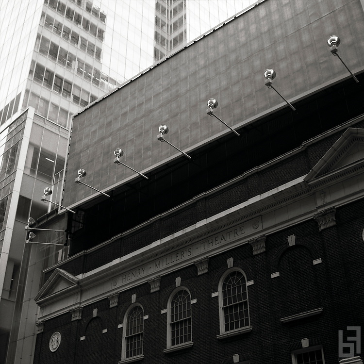"Blank Billboard hovers over the exterior of the Henry Miller Theatre just off Broadway in the theater district in New York City.  Taken from the series ""Down with the Ship"""