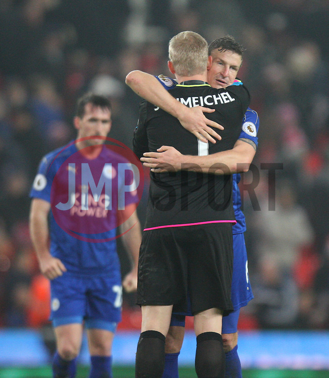 Kasper Schmeichel (C) and Robert Huth of Leicester City celebrate after the match - Mandatory by-line: Jack Phillips/JMP - 17/12/2016 - FOOTBALL - Bet365 Stadium - Stoke-on-Trent, England - Stoke City v Leicester City - Premier League