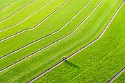 Nederland, Utrecht, Bunschoten-Spakenburg, 10-10-2014; Bikkerspolder, de sloten vormen geometrisch patronen.<br /> The ditches form geometric patterns.<br /> luchtfoto (toeslag op standard tarieven);<br /> aerial photo (additional fee required);<br /> copyright foto/photo Siebe Swart