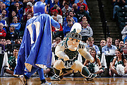 INDIANAPOLIS, IN - NOVEMBER 18: Michigan State and Duke mascots dance on the floor during a timeout in the Champions Classic basketball event at Bankers Life Fieldhouse on November 18, 2014 in Indianapolis, Indiana. The Blue Devils defeated the Spartans 81-71. (Photo by Joe Robbins)