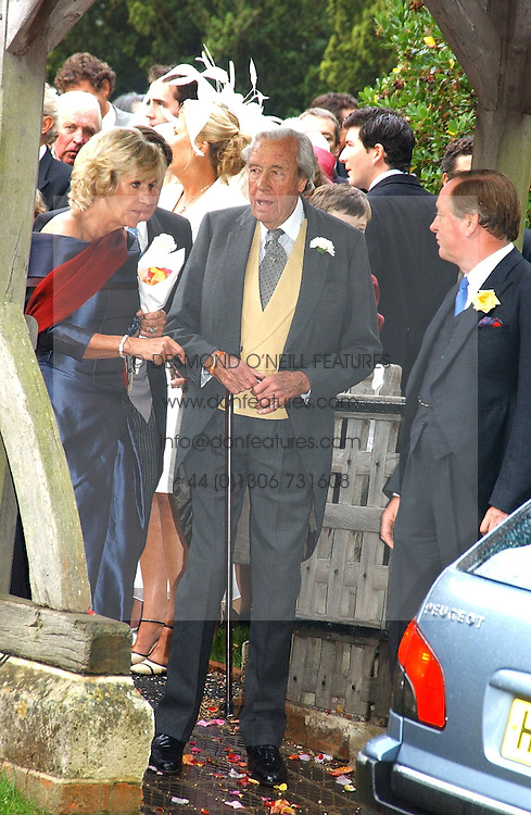 ANNABEL ELLIOT sister of Camilla Parker Bowles, her father BRUCE SHAND and ANDREW PARKER BOWLES at the wedding of Tom Parker Bowles to Sara Buys at St.Nicholas Church, Rotherfield Greys, Oxfordshire on 10th September 2005.<br />